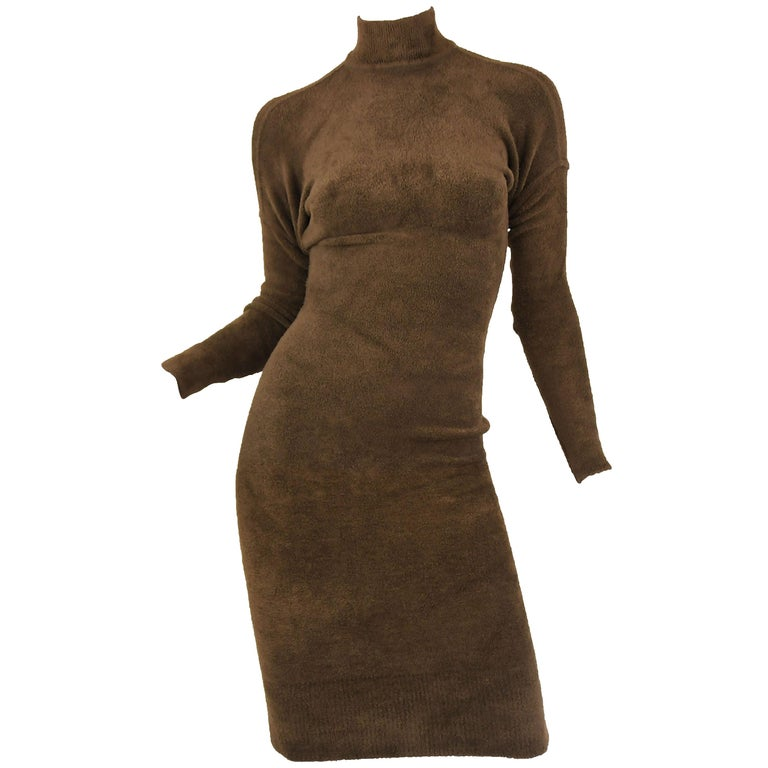 Vintage Alaia Brown Drop Shoulder Long Sleeve Fitted Dress - Size M For Sale