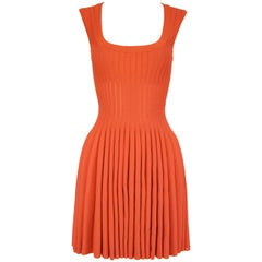 Alaia Dark Coral Fit & Flare Dress - Size FR 38