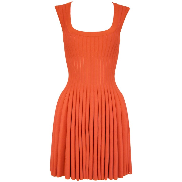 Alaia Dark Coral Fit & Flare Dress - Size FR 38 For Sale