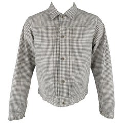 CHIMALA M Grey & White Checkered Distressed Cotton Trucker Jacket Coat