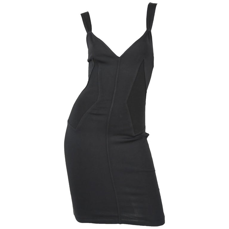Vintage Alaia Fitted Black Strappy Dress - Size S For Sale