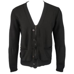 UNDERCOVER Size M Black Wool Zip & Button V Neck Cardigan