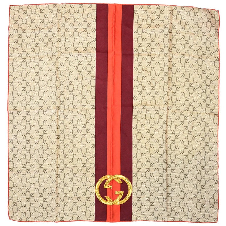 Gucci Tan & Orange Silk Monogram Logo Scarf