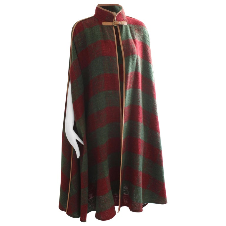 96493ead0 Rare Gucci Wool Cape Leather Trim Striped Web with Equestrian Motif Buckle  42 For Sale