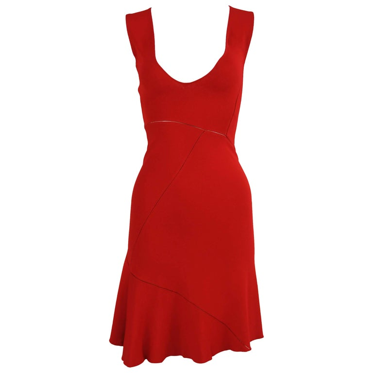 Alaia Fitted Red Cocktail Dress  For Sale