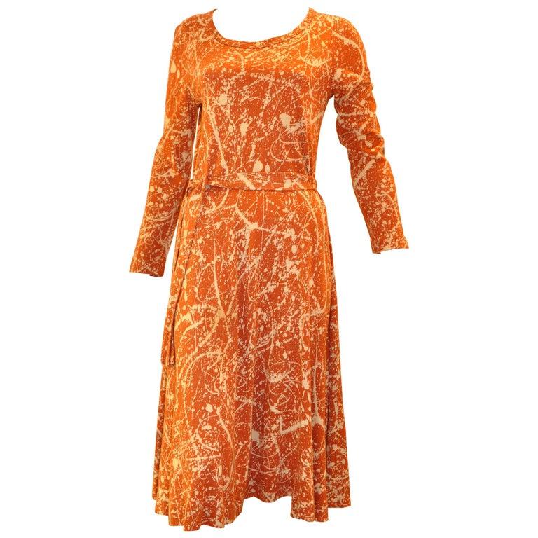 "1970s Diane Von Furstenberg ""Jackson Pollack"" Paint Splatter Dress w/Belt For Sale"