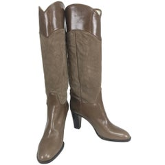 Beltrami suede and leather high heeled boots 38 1/2M Unworn
