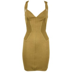 Vintage Alaia Khaki Knit Strappy Dress - Size M