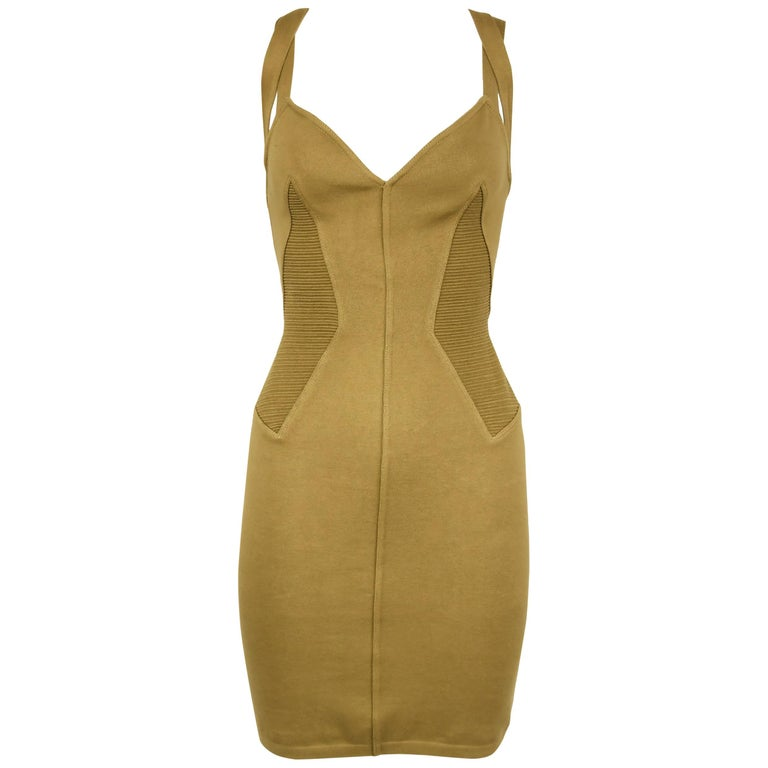 Vintage Alaia Khaki Knit Strappy Dress - Size M For Sale
