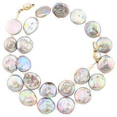 """Gemjunky Gorgeous Elegant 15mm Irridescent Rare Coin Pearl 17.5"""" Necklace"""