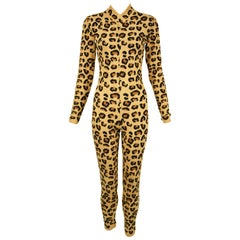 Vintage Alaia Leopard Long Sleeve Jumpsuit - Size XS