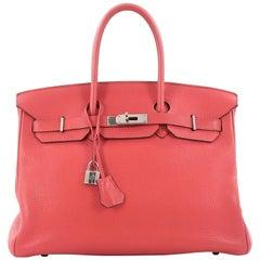 Hermes Rose Jaipur Pink Clemence with Palladium Hardware Birkin 35 Handbag