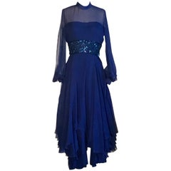 Travilla 1970s Blue Floaty Chiffon Beaded Evening Dress with Sheer Sleeves