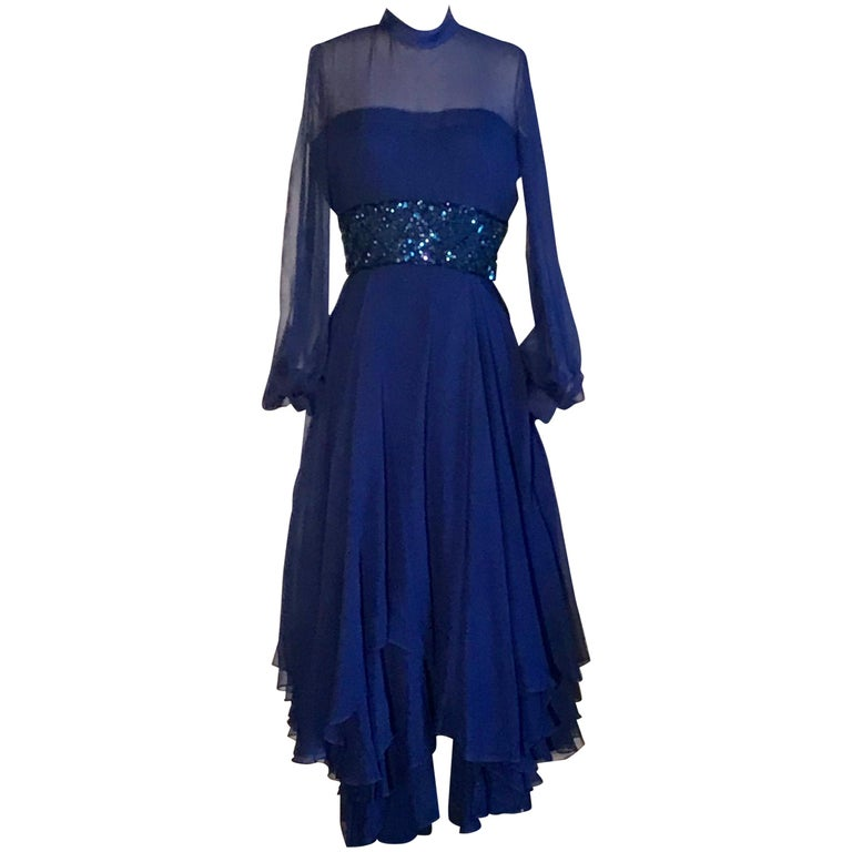 Travilla 1970s Blue Floaty Chiffon Beaded Evening Dress with Sheer Sleeves For Sale