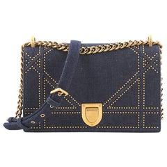 Christian Dior Diorama Flap Bag Studded Denim Medium