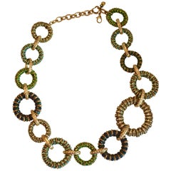 Francoise Montague Shades of Green Swarovski Crystal Shangri-la Necklace