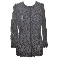 A.K.R.I.S Velvet and Lace Cut-Out Evening Jacket Size 12 US