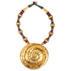 Hammered Boho Shell Necklace
