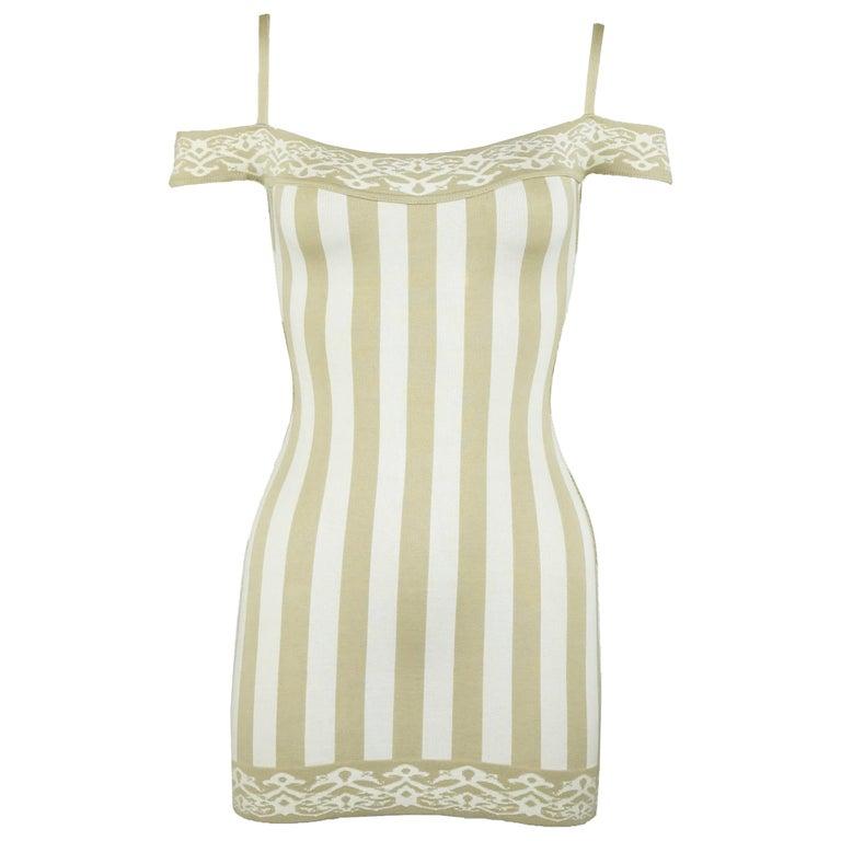 Vintage Alaia Striped Mini Dress - Size XS For Sale