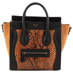 Celine Luggage Handbag Python and Leather Nano