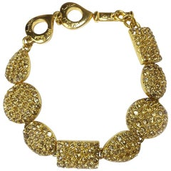 YSL YVES SAINT LAURENT Chain Bracelet in Gilt Metal and Champagne Rhinestones