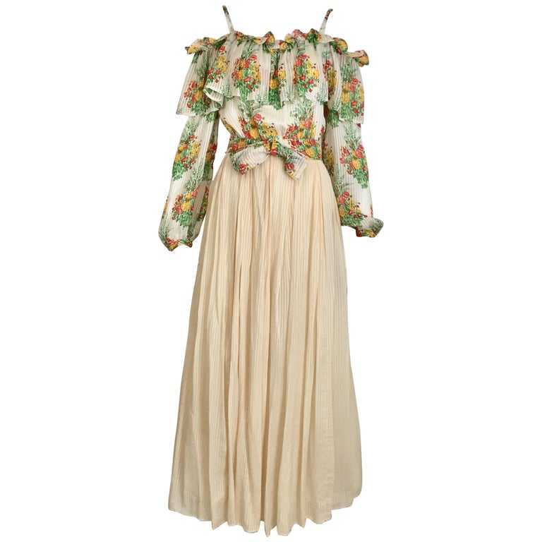 Andre Laug Creme Silk Floral Print Maxi Dress, 1970s  For Sale