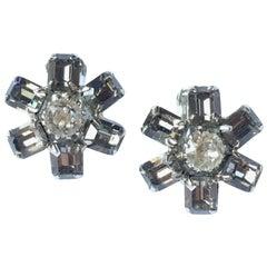 Crystal Flower Earrings Weiss 1960s