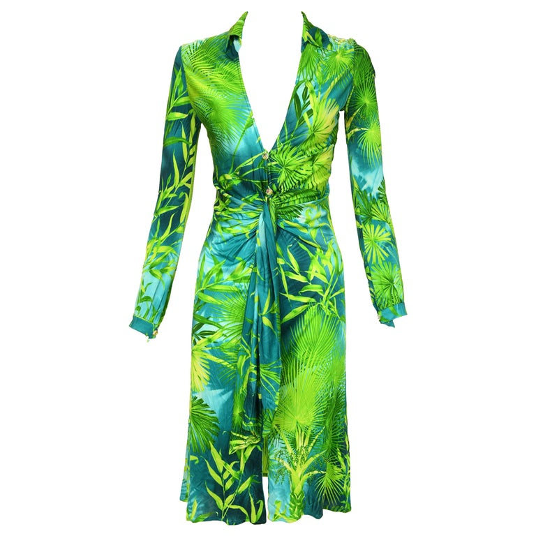 Iconic Gianni Versace Couture Tropical Print Dress - Size IT 40 For Sale