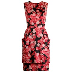 Talmack by John Moore Vintage Red Pink and Black Floral Print Silk Dress, 1960s