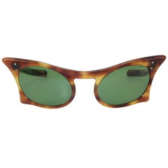 Sculptural French Faux Tortoise Cat Eye Sunglasses, 1950s