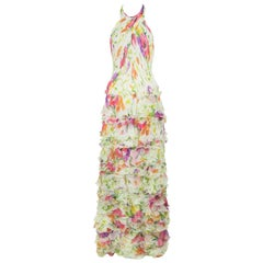 Products Ralph Lauren Collection White Floral Chiffon Gown - Size US 2