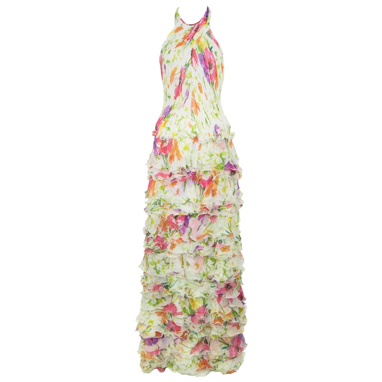 Products Ralph Lauren Collection White Floral Chiffon Gown - Size US 2 For Sale