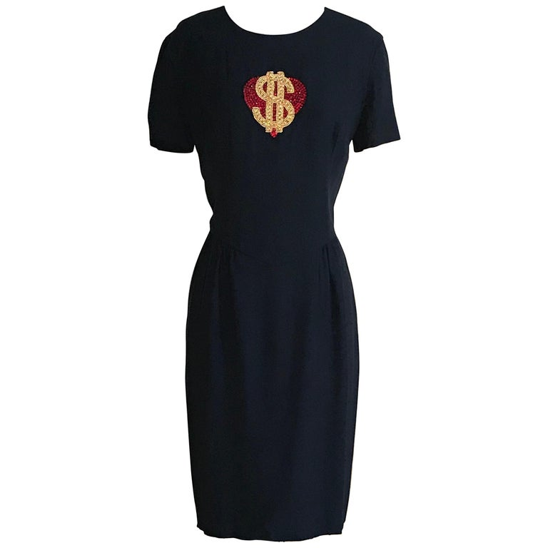 Moschino Couture 1990s Vintage Heart and Dollar Sign Dress Navy Blue