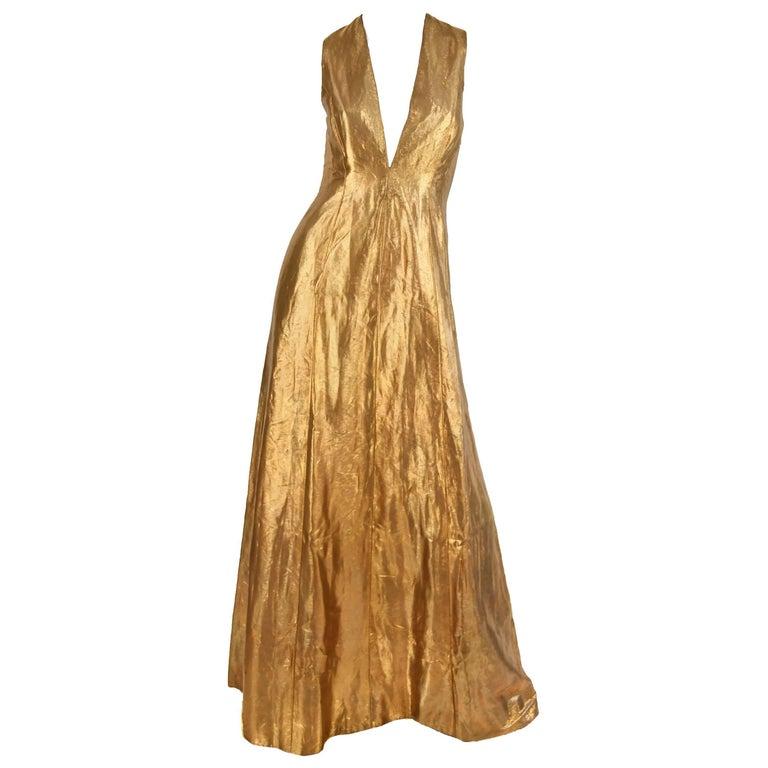 Ralph Lauren Gold Bronze Evening Gown For