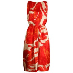 1963 B.H. Wragge Vintage Red Orange Beige Silk Midcentury Print Sheath Dress