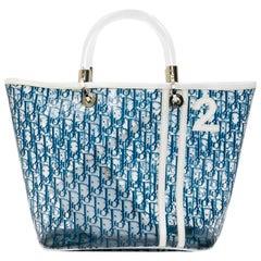 DIOR Vintage Tote Bag in Transparent Blue Monogram