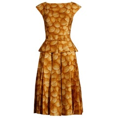 Arnold Scaasi Vintage Yellow / Gold Print Silk Cocktail Dress, 1950s