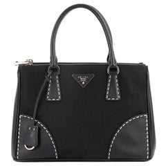 Prada Double Zip Convertible Tote Stitched Saffiano and Nylon Small