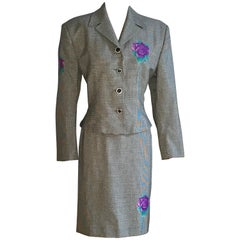 Gianni Versace 1990s Purple Flower Black White Houndstooth Skirt Suit