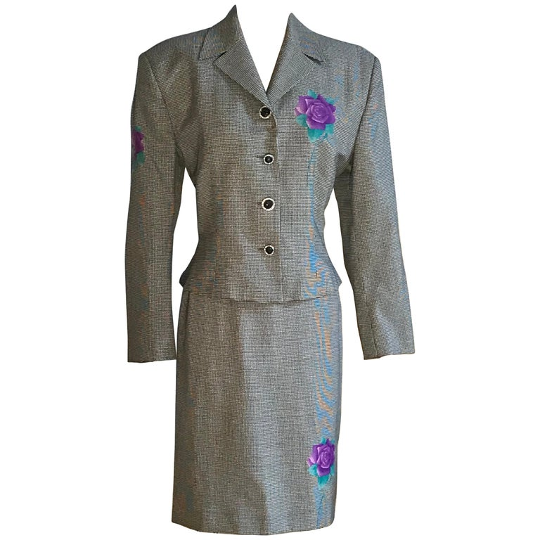 Gianni Versace 1990s Purple Flower Black White Houndstooth Skirt Suit For Sale