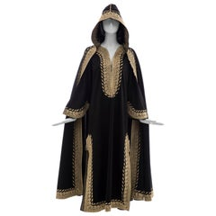 Moroccan Black Kaftan With Gold Embroidery Separate Hooded Cape, Circa 1970's