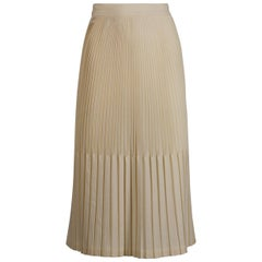 1940s Vintage Off White/ Cream Cotton Pleated High Waist Pencil Skirt