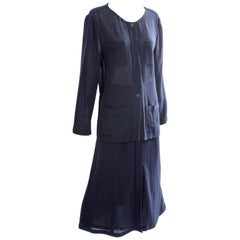 Chanel Sheer Wool Crepe Jacket and Button Front Skirt Suit 2pc Navy Blue Sz 44