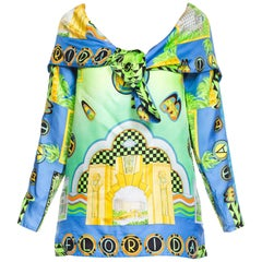 1990s Gianni Versace Miami Florida Silk Blouse