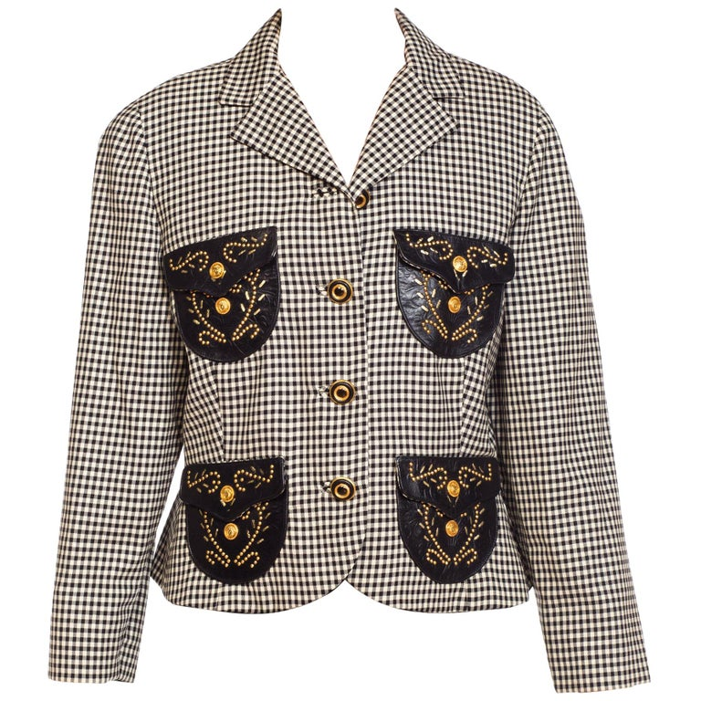 1990S Gianni Versace Western Collection Jacket With Gold Stud & Leather Details