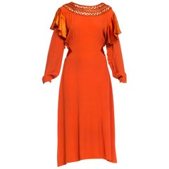 Early 1930s Crepe Dress With Silk Flutter Sleeves and Handmade Neckline