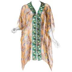 Floral Printed Chiffon Kimono with Lurex Stripes and Asian-inspired Ribbon Trim