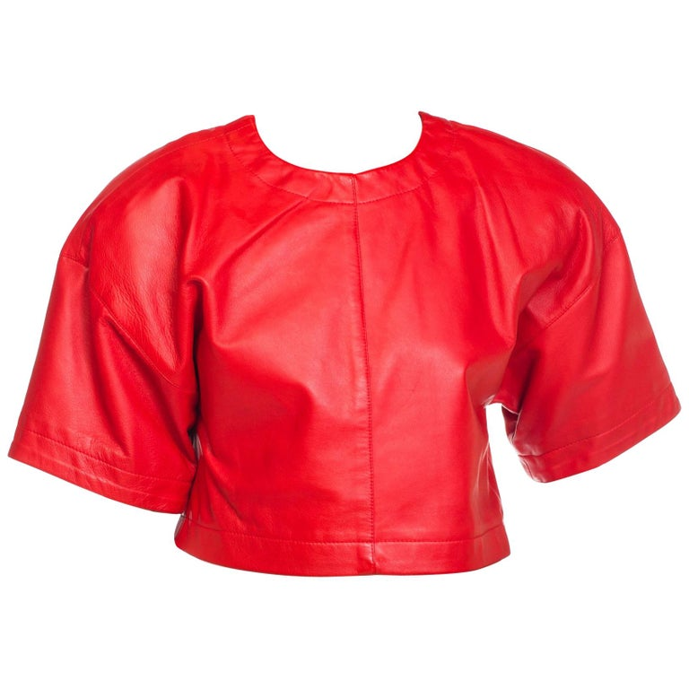 1980s Red Leather Oversized Crop Top