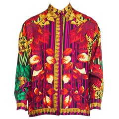 "1990s Gianni Versace Instante ""Fall"" Baroque Printed Silk Blouse"