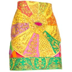 1990S GIANNI VERSACE Bright Multicolor Cotton Baroque Printed High-Waisted Mini